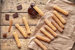 Churros traditional Spanish breakfast homemade sweet dough dessert pastry street food Stock Photos