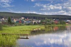 Chusovaia en av de mest härliga floderna av den Sverdlovsk regionen, Royaltyfri Fotografi