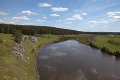 Chusovaya River at the village of Sloboda. Sverdlovsk region. Russia Stock Photos