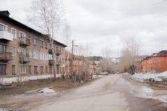 Chusovoy,电烫地区,俄罗斯- 4月16 2017年:农村春天lan 免版税库存图片