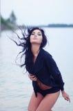 chusty czarny koronkowa prowokująca kobieta obrazy stock
