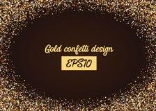 Chute aléatoire de confettis d'or de miroitement Photographie stock libre de droits