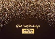 Chute aléatoire de confettis d'or de miroitement Images stock