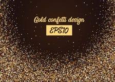 Chute aléatoire de confettis d'or de miroitement Photo stock