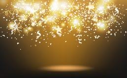 Chute d'étoiles filantes et de confettis d'or, dispersion de papier avec des flocons de neige et rubans, abrégé sur événement de  illustration de vecteur