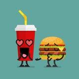 Chute d'aliments de préparation rapide dans l'amour Images libres de droits
