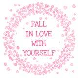 Chute dans l'amour avec vous-m?me texte dans un cadre de cercle des coeurs roses sur le fond blanc Carte de vecteur illustration stock