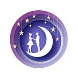 Chute dans l'amour Lune Amants romantiques blancs Étoiles de papier en métal d'or style de coupe de papier Jour de Valentine heur illustration stock