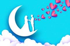 Chute dans l'amour Lune croissant Amants romantiques blancs Coeurs de papier roses style de coupe de papier Jour de Valentine heu illustration de vecteur
