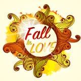 Chute dans l'amour marquant avec des lettres Autumn Banner Postcard saisonnier Photo libre de droits