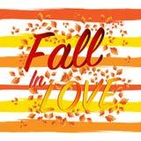 Chute dans l'amour marquant avec des lettres Autumn Banner Postcard saisonnier Photos libres de droits