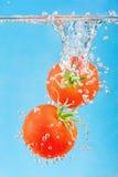 Chute dans les tomates de l'eau images stock