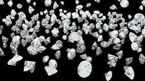 Chute de diamant sur le noir Photo stock
