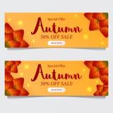 Chute de feuilles d'automne avec le fond jaune calibre d'offre de vente Descripteur d'affiche calibre de bannière Illustration de illustration stock