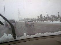 Chute de neige en Syrie Photographie stock