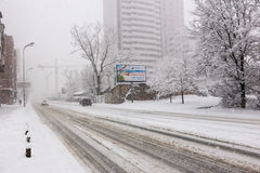 Chute de neige importante à Kiev, Ukraine, le 5 février 2015 Photographie stock libre de droits