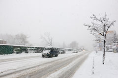 Chute de neige importante à Kiev, Ukraine, le 5 février 2015 Photo libre de droits
