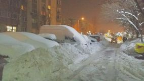 Chute de neige importante d'extrémité de la Roumanie Image libre de droits