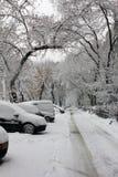 Chute de neige importante dans la ville Photos stock