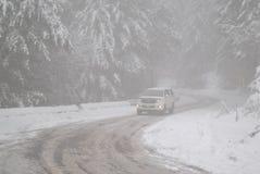 Chute de neige sur le ` de 〠du Pakistan de  de road〠d'ayubia Photographie stock