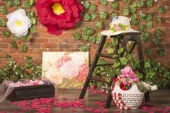Chute de pétales de rose au plancher Photographie stock