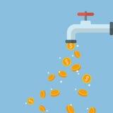 Chute de pièces de monnaie hors du robinet d'eau Photo libre de droits