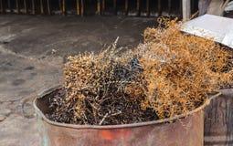 Chute en acier dans la poubelle Photos stock