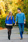 Chute en automne d'amour promenade Photographie stock libre de droits