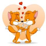 Chute mignonne de deux dessins animés dans le renard d'amour Photos stock