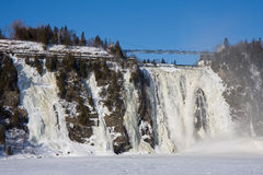 Chute montmorency waterfall in Quebec Royalty Free Stock Image