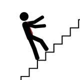 Chute sur les escaliers Photo stock