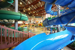Chutes as spiral and staircase in aquapark Stock Images