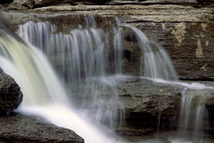 Chutes aux Galets. A part of the falls in the limestone cliffs near St. David de Falardeau,Quebec stock photos