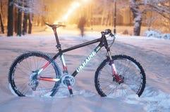 Chutes de neige d'indu vélo de montagneMTB Image libre de droits