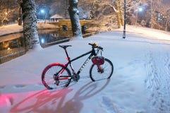 Chutes de neige d'indu vélo de montagneMTB Photos libres de droits
