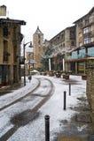 Chutes de neige dans Ordino, Andorre image stock
