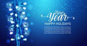 Chutes de neige de fond de nouvelle année bonnes fêtes sur le bleu, l'espace de Garland Decoration Banner With Copy d'éclat Images stock