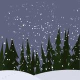 Chutes de neige fortes aux bois Image libre de droits