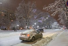 Chutes de neige fortes de février Photographie stock
