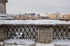 Chutes de neige rares à Rome. Image libre de droits