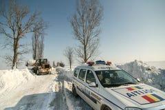 Chutes de neige sur la route Images libres de droits