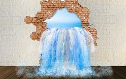 Chutes du mur Écoulements d'eau du trou dans le mur illustration libre de droits