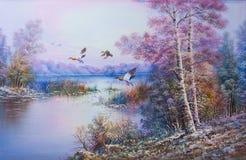 Chutes pendant l'hiver avec des oiseaux volant - peinture à l'huile image stock