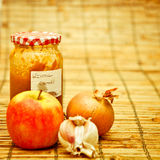 Chutney. A jar of home made chutney with fresh ingredients Stock Photos