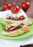 Chutney on baguette. Fresh baguette with tomato chutney Royalty Free Stock Photography