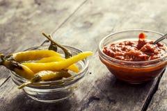 Chutney i chillies Zdjęcia Stock