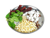 Chutney ingredients. Ingredients for chutney in a steel plate Royalty Free Stock Image