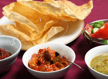 Chutney, papadums and salad Royalty Free Stock Photo