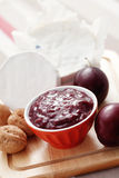 Chutney plum with cheese Stock Photography