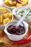 Chutney and sour cream Royalty Free Stock Images